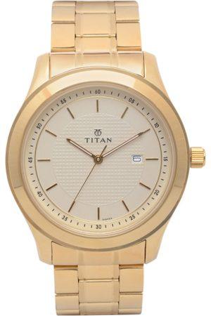 Titan Men Beige Analogue Watch 1627YM04