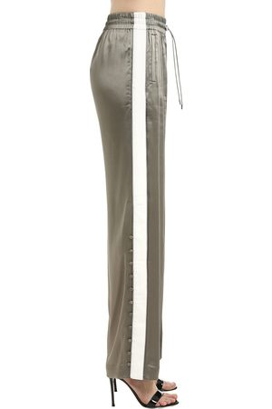 JONATHAN SIMKHAI Satin Crepe Track Pants W/ Side Bands