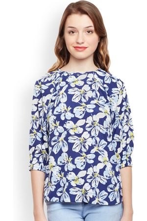 Oxolloxo Women Blue Printed Top