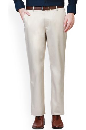 Peter England Men White Slim Fit Solid Formal Trousers