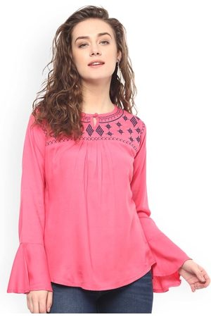 Mayra Women Pink Embroidered A-Line Top