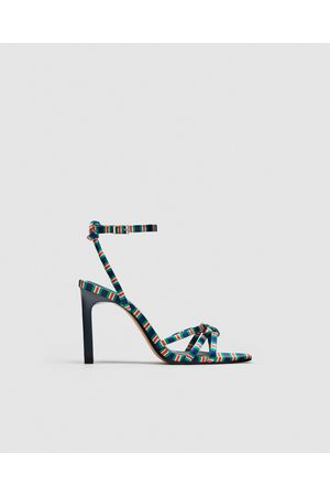 Zara HIGH-HEEL SANDALS WITH CONTRASTING STRAP