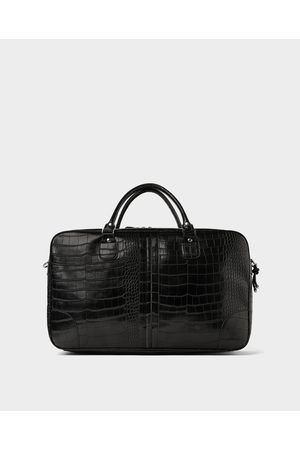Zara BOWLING BAG WITH REPTILE-EFFECT EMBOSSING