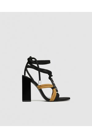 Zara LEATHER SANDALS WITH STONE DETAIL