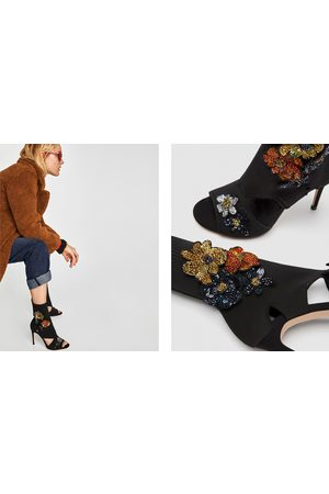 Zara HIGH HEEL SOCK-STYLE SANDALS WITH FLORAL DETAIL