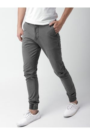 Mast & Harbour Men Grey Slim Fit Solid Joggers