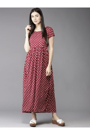HERE&NOW Women Maroon & White Printed Maxi Dress
