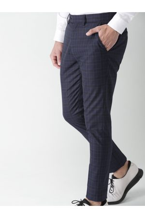 Invictus Men Black & Blue Slim Fit Checked Formal Trousers