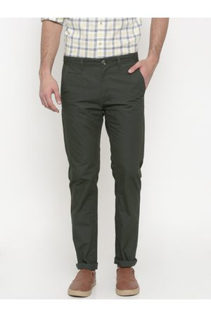 Peter England Men Olive Green Super Slim Fit Solid Chinos