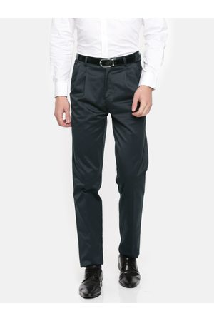 Peter England Men Grey Smart Regular Fit Solid Formal Trousers