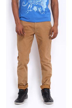 ED HARDY Men Brown Slim Fit Trousers