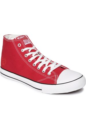 British Knights Men Red Solid Canvas Mid-Top Sneakers