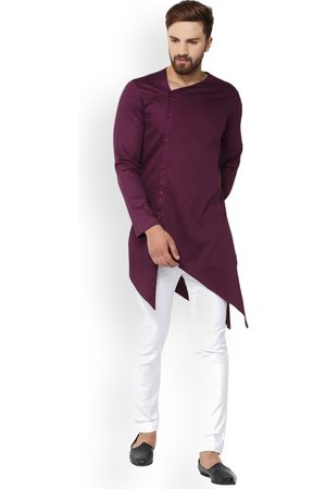 See Designs Men Burgundy Solid Straight Kurta