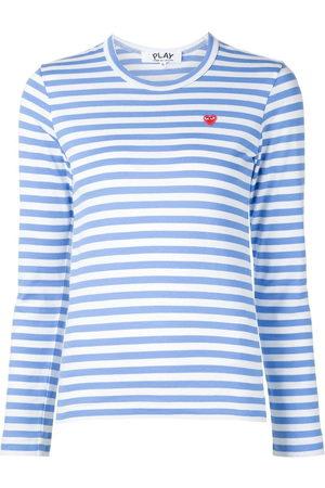 Comme des Garçons Women Long Sleeve - Heart logo striped T-shirt