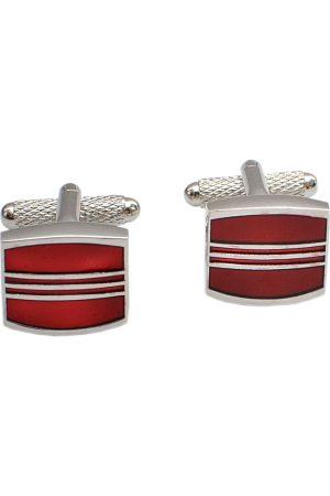 Alvaro Castagnino Silver-Toned & Red Cufflinks