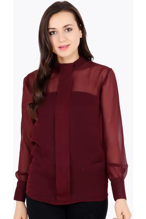 Cation Women Maroon Solid Top