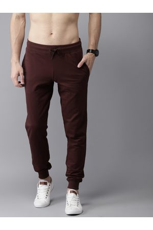 HERE&NOW Men Burgundy Solid Straight Fit Joggers