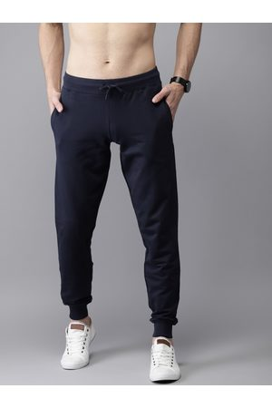 HERE&NOW Men Navy Solid Straight Fit Joggers