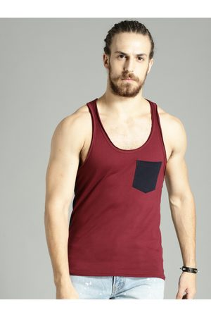 Roadster Men T-shirts - Time Travlr Men Maroon Sleveless T-shirt with Raw Edges