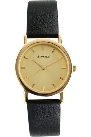 Sonata Men Gold-Toned Analogue Watch NJ7987YL01W