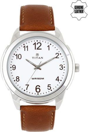 Titan Men White Dial Watch 1585SL07