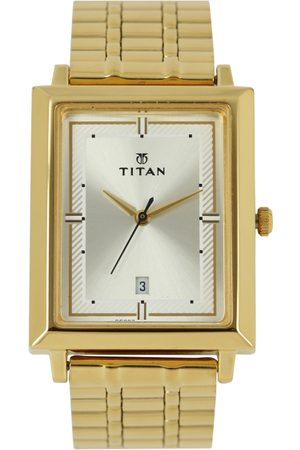 Titan Men Muted Gold-Toned Dial Watch 1715YM02
