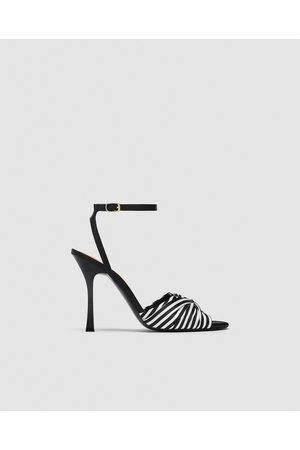 Zara Women Heeled Sandals - STRIPED HIGH-HEEL SANDALS