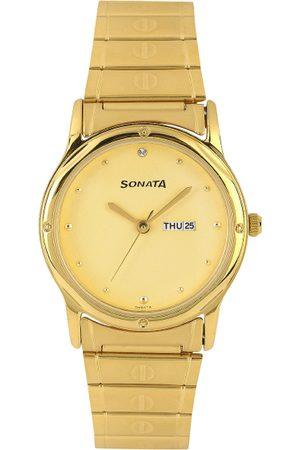 Sonata Men Gold-Toned Dial Watch NC7023YM09