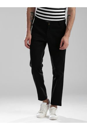 Hubberholme Men Black Slim Fit Solid Regular Trousers