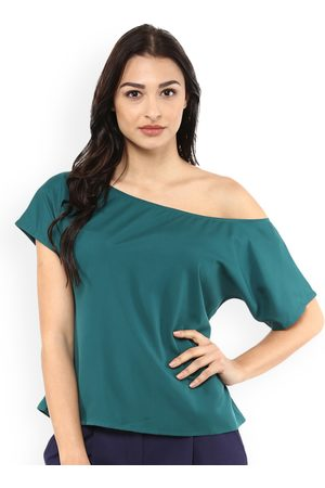 MABISH by Sonal Jain Women Teal Solid A-Line Top