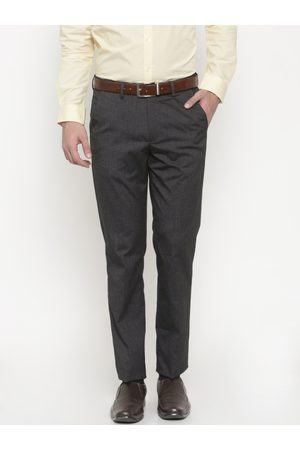 Peter England Men Charcoal Grey Slim Fit Solid Formal Trousers