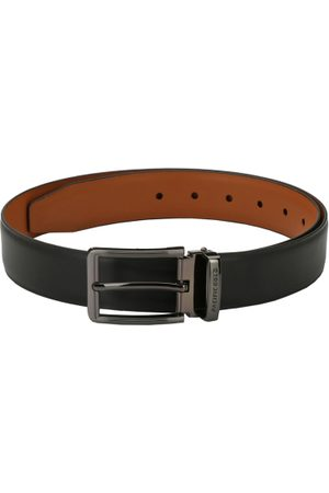 Pacific Men Black & Tan Solid Reversible Belt
