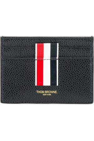 Thom Browne Vertical Intarsia Stripe Single Cardholder In Pebble Grain Leather