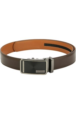 Pacific Men Coffee Brown Solid Genuine Leather Belt