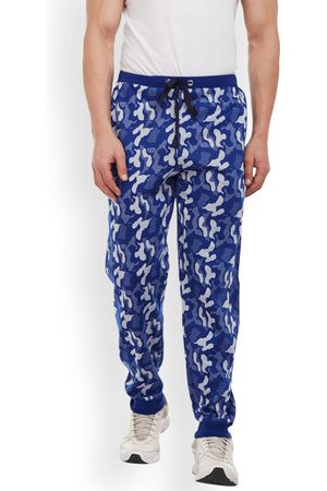 VIMAL JONNEY Men Blue & Off-White Slim Fit Printed Joggers