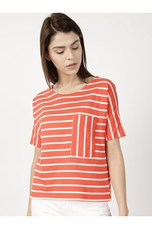 ether Women Orange & White Striped Round Neck T-shirt