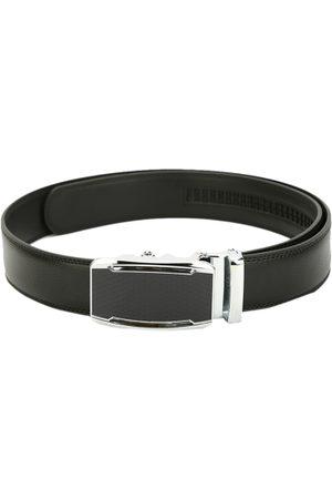 Pacific Men Black Leather Solid Belt
