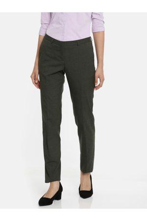 Van Heusen Van Heusen Women Grey Slim Fit Solid Regular Trousers