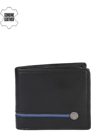 Fastrack Men Black & Navy Blue Genuine Leather Wallet