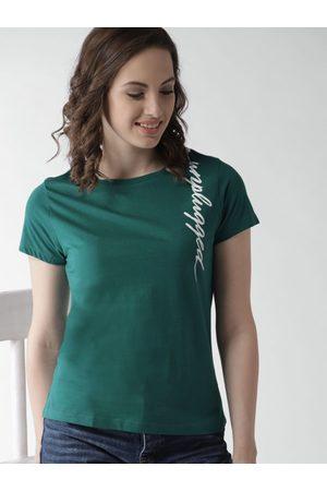Mast & Harbour Women Solid Round Neck T-shirt
