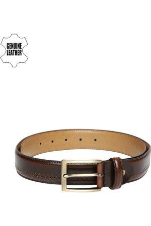 Invictus Men Brown Textured Genuine Leather Belt