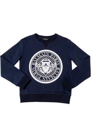 Balmain Logo Crest Flocked Cotton Sweatshirt