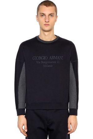 Armani Logo Embroidered Cotton Blend Sweatshirt