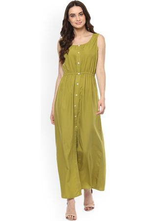 MABISH by Sonal Jain Women Olive Green Solid Maxi Dress