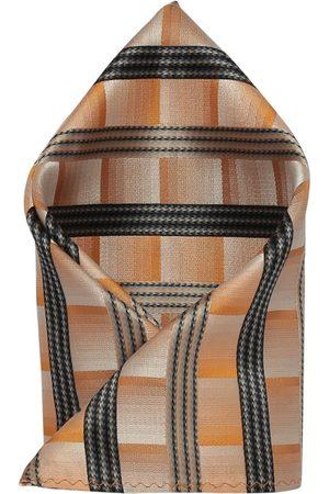 Alvaro Castagnino Men's Orange & Black Striped Pocket Square