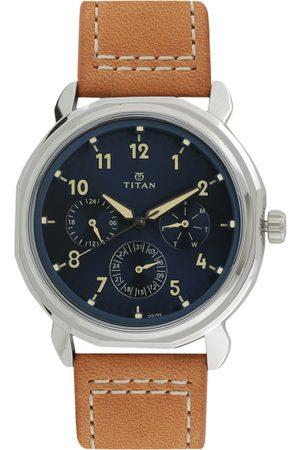 Titan Men Blue & Tan Analogue Watch 1753SL01