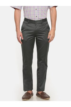 Peter England Men Grey Slim Fit Solid Formal Trousers