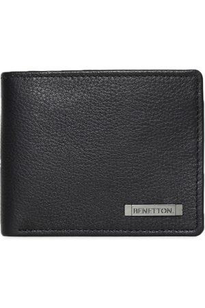 Benetton Men Black Solid Two Fold Wallet