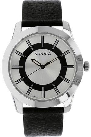 Sonata Men Silver-Toned & Black Analogue Watch NK7924SL06