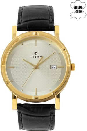 Titan Men Muted Gold-Toned Dial Watch NH1639YL01